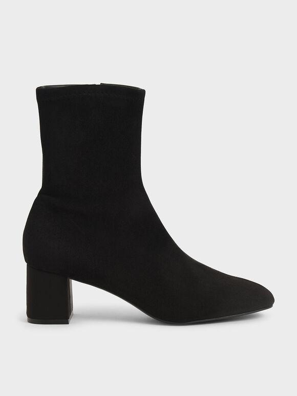 Textured Block Heel Ankle Boots, Black, hi-res