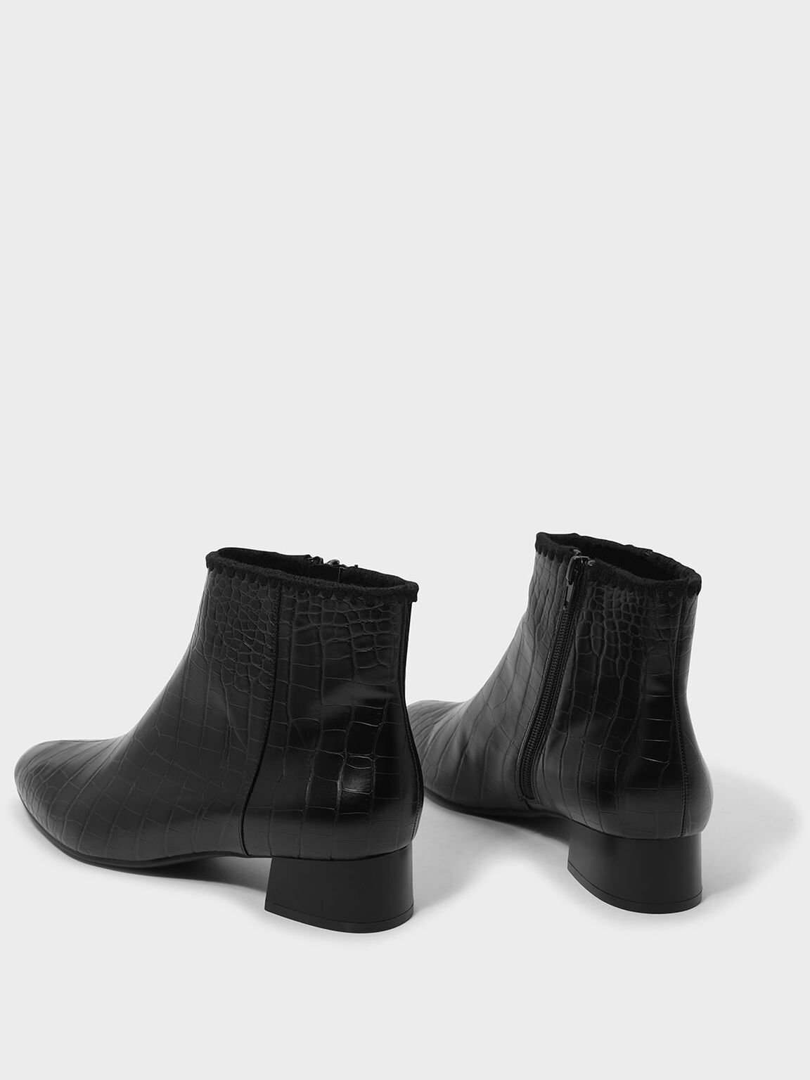 Whipstitch Trim Ankle Boots, Black, hi-res