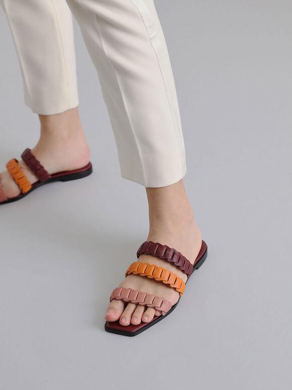 Leather Pleated Strap Slide Sandals, Multi, hi-res