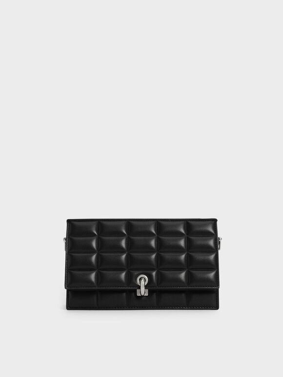 Padded Turn-Lock Long Wallet, Black, hi-res