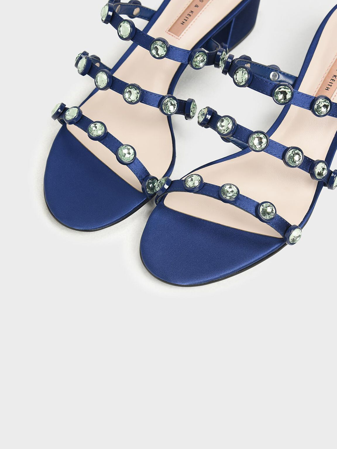 Embellished Strappy Slide Sandals, Dark Blue, hi-res