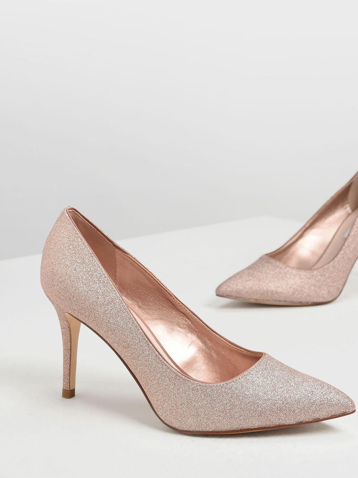 Glitter Pumps, Rose Gold, hi-res