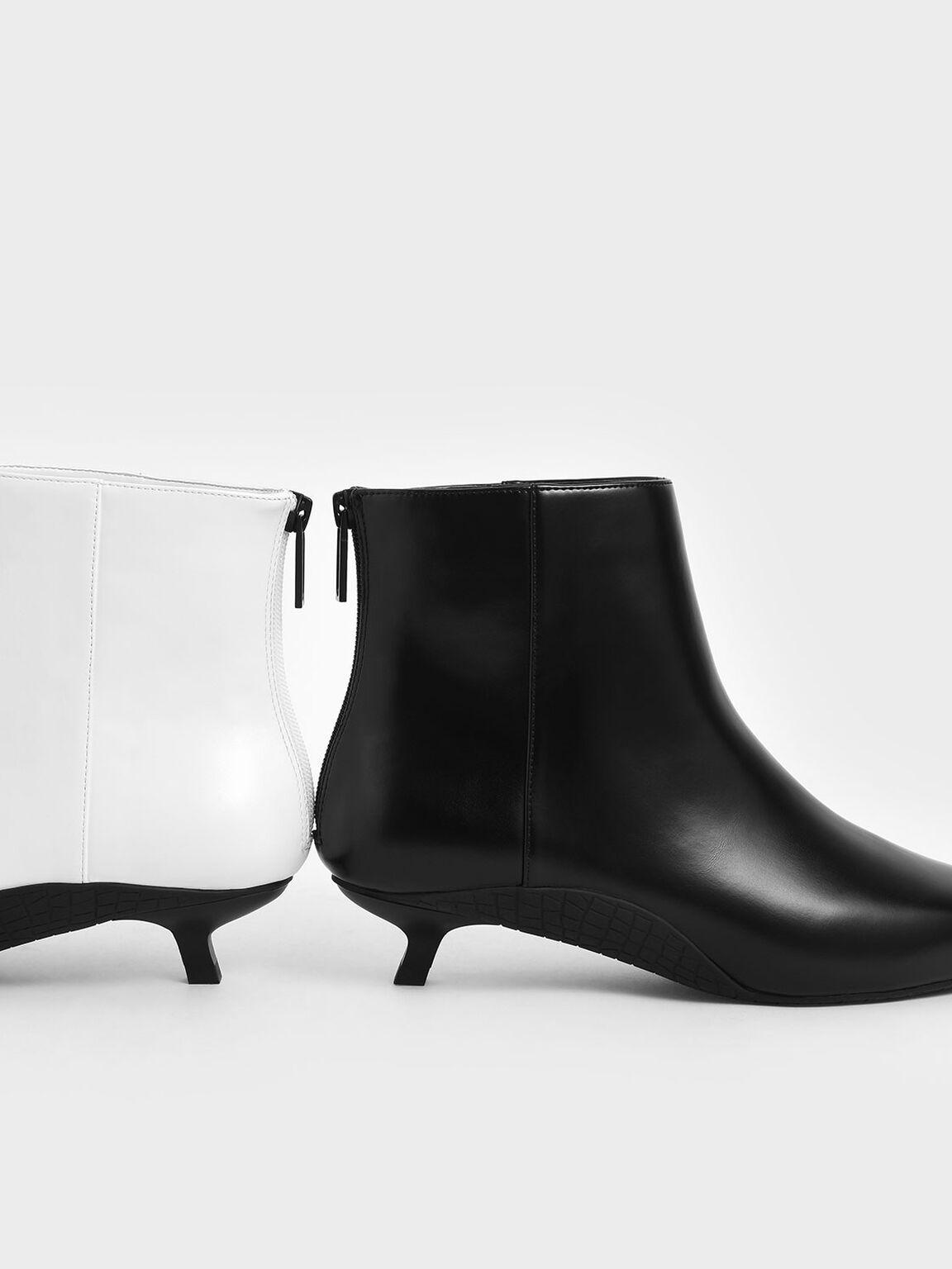 Kitten Heel Ankle Boots, Black, hi-res