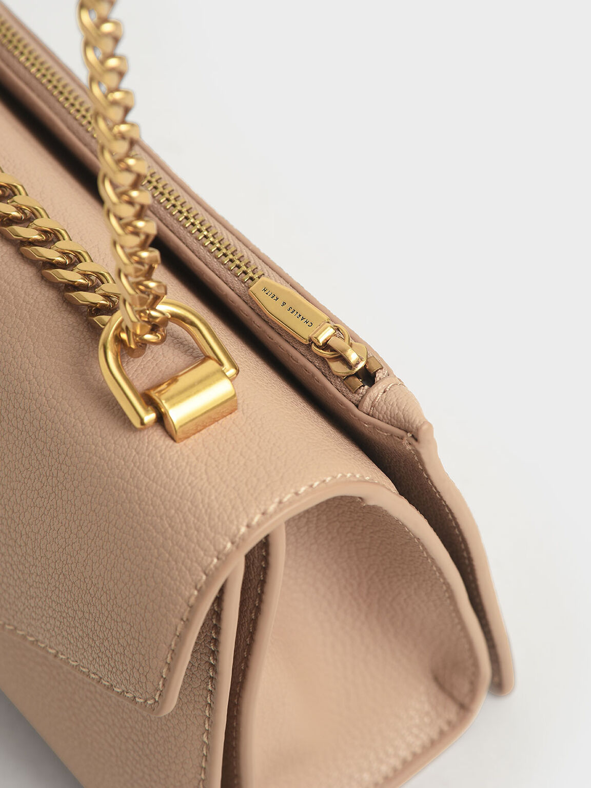 Turn-Lock Crossbody Bag, Beige, hi-res