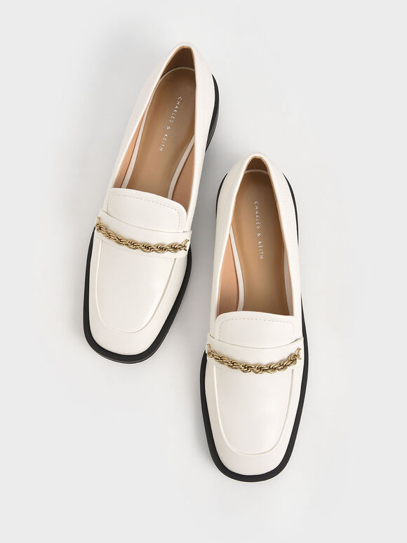 Metallic Accent Penny Loafers, White, hi-res