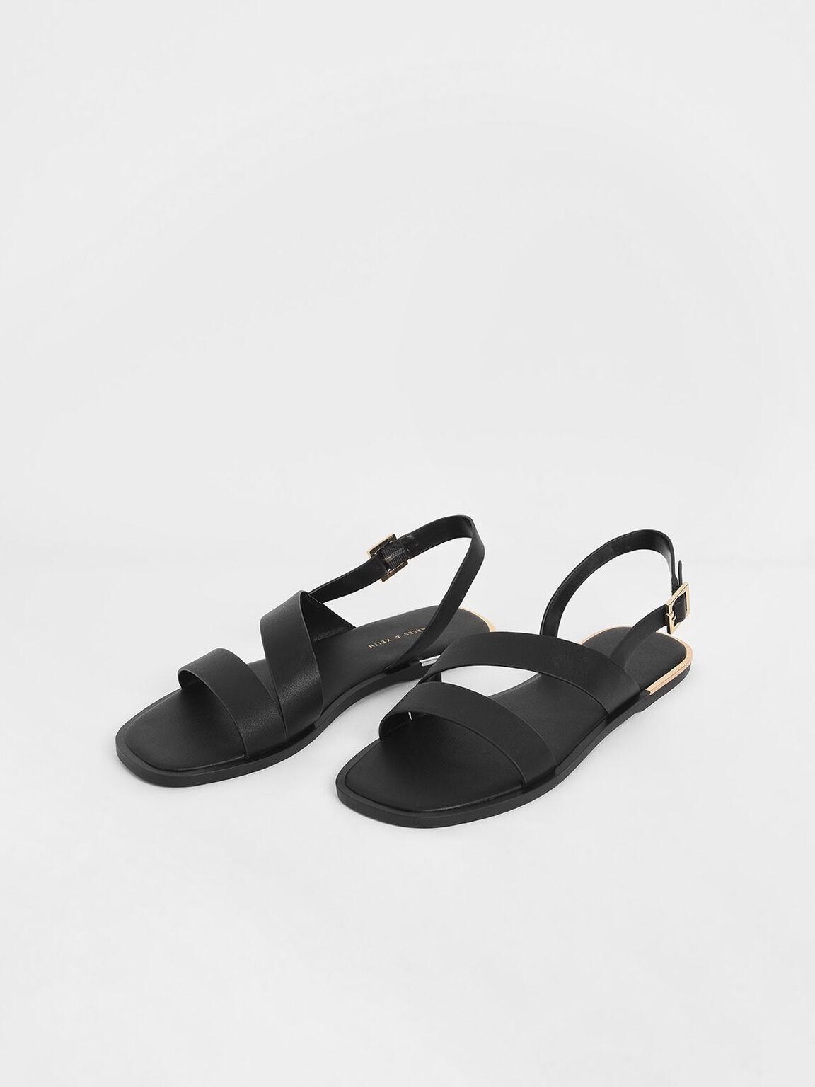 Asymmetric Strap Slingback Flats, Black, hi-res
