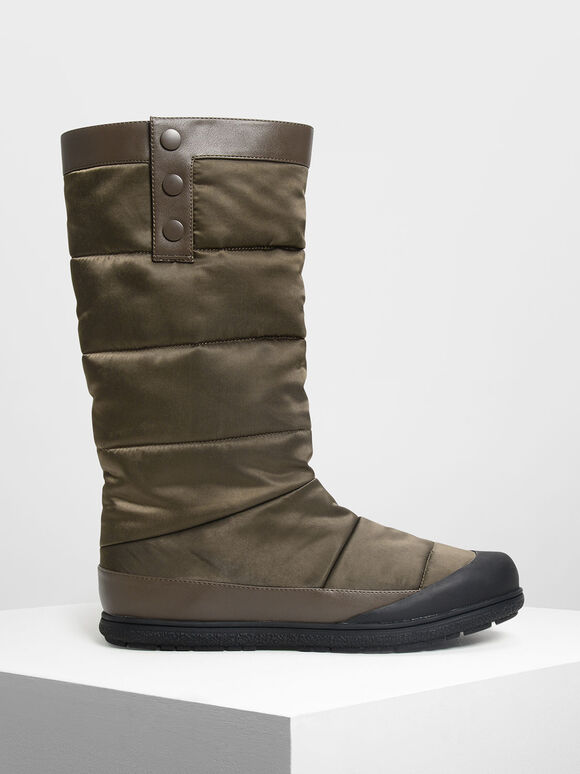 Puffed Calf Boots, Military Green, hi-res