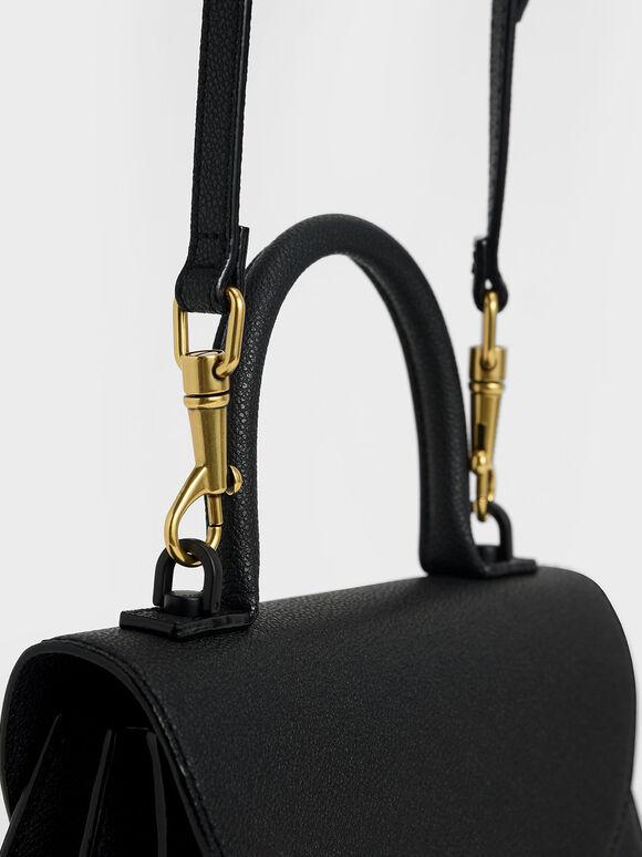Stone-Embellished Sculptural Bag, Black, hi-res