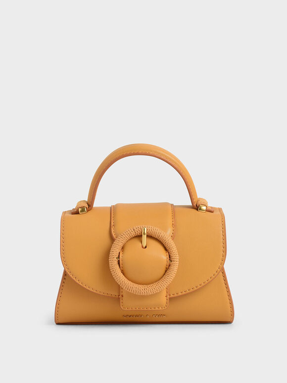 Woven Buckle Top Handle Bag, Mustard, hi-res