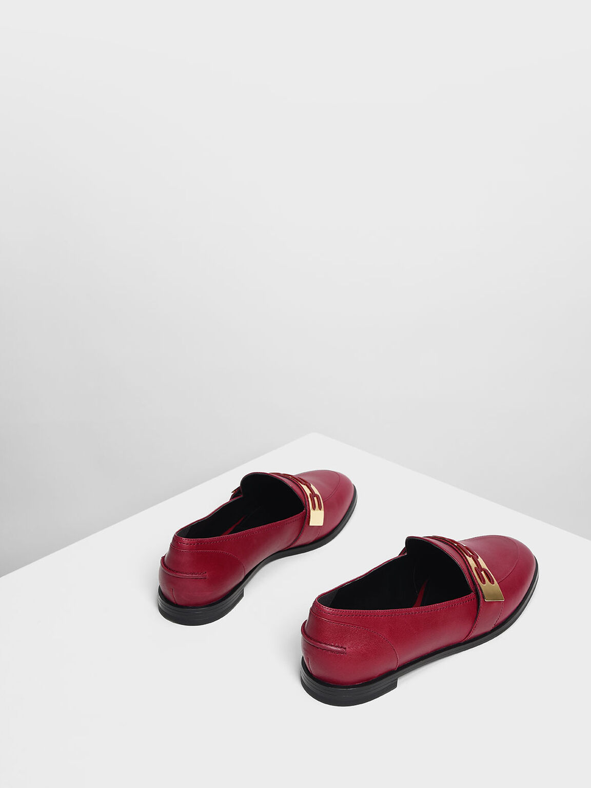 Metallic Accent Loafers, Burgundy, hi-res