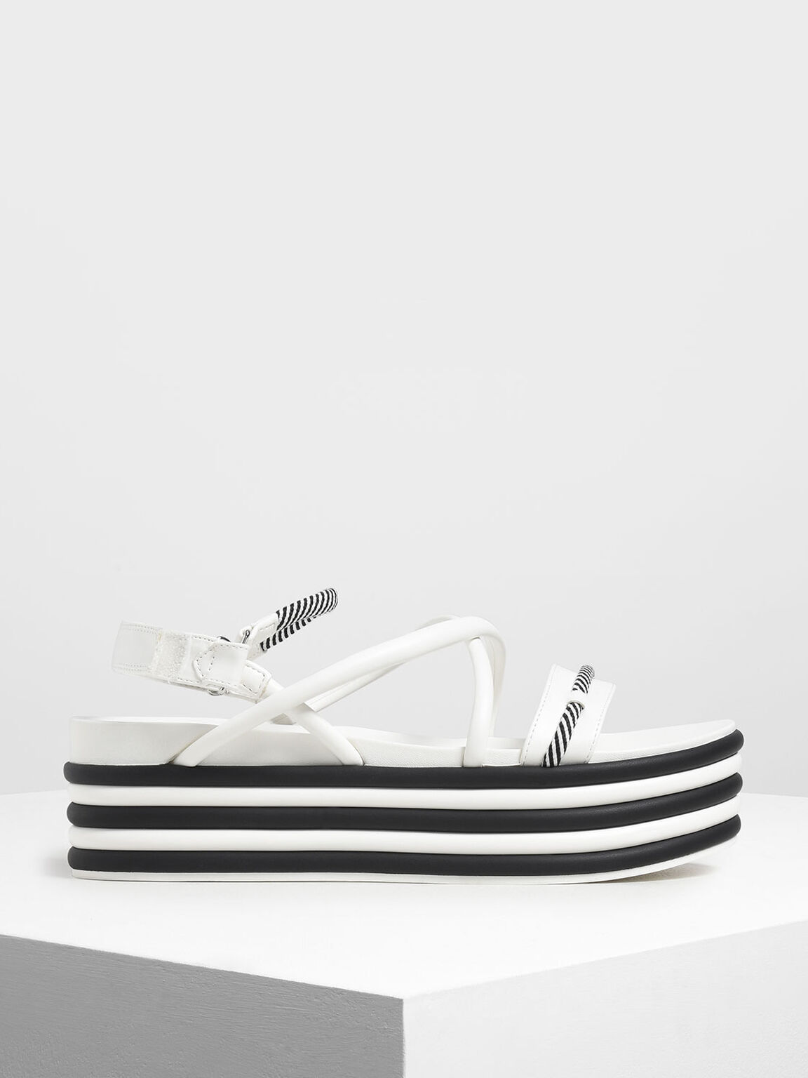 Two-Tone Strappy Flatforms, White, hi-res