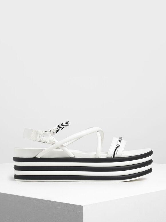 Two-Tone Strappy Flatforms, White, hi-res