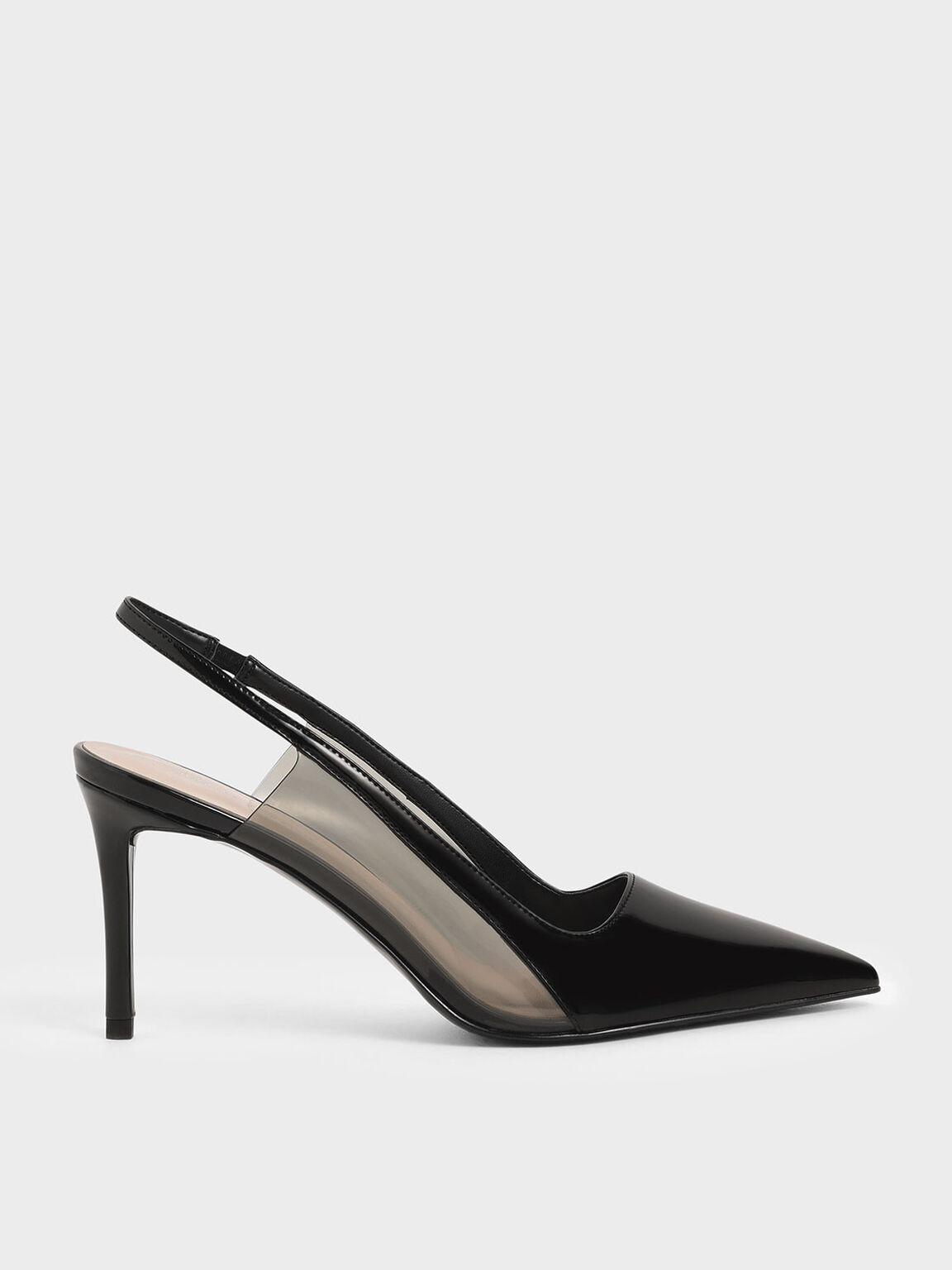 Patent Slingback Pumps, Black, hi-res