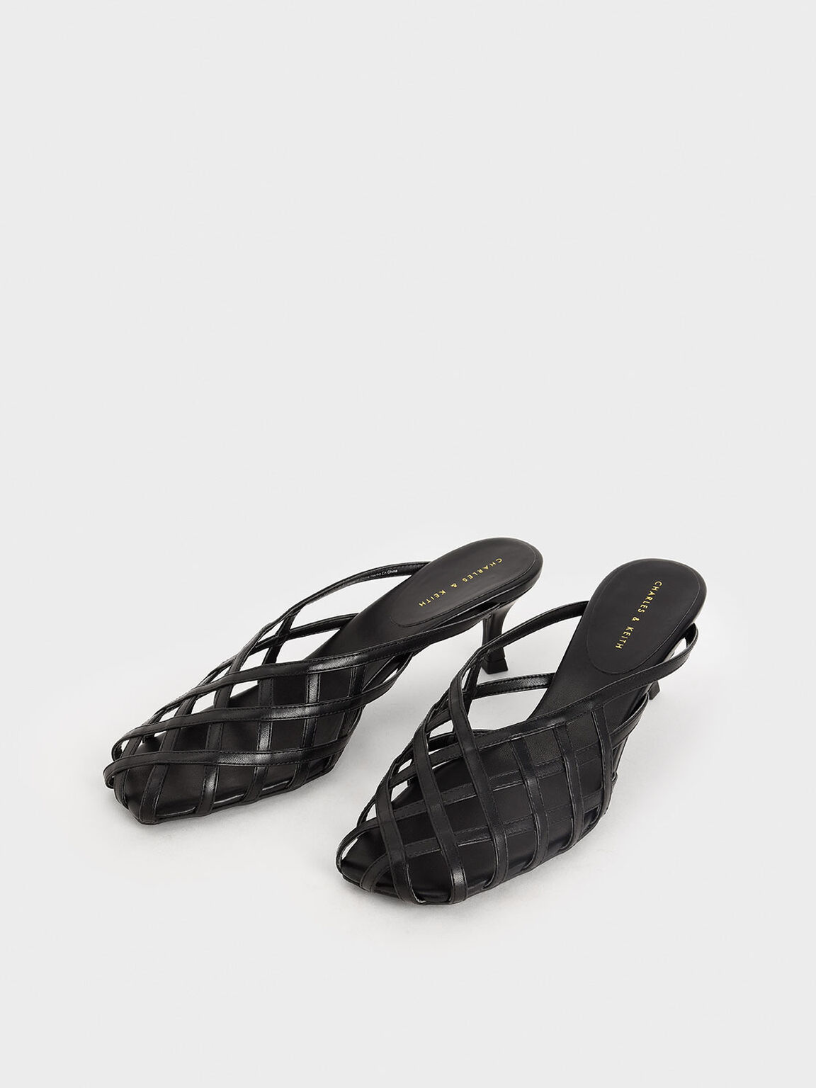 Square Toe Caged Mules, Black, hi-res