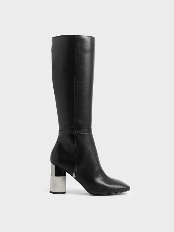 Concrete Heel Knee-High Boots, Black, hi-res