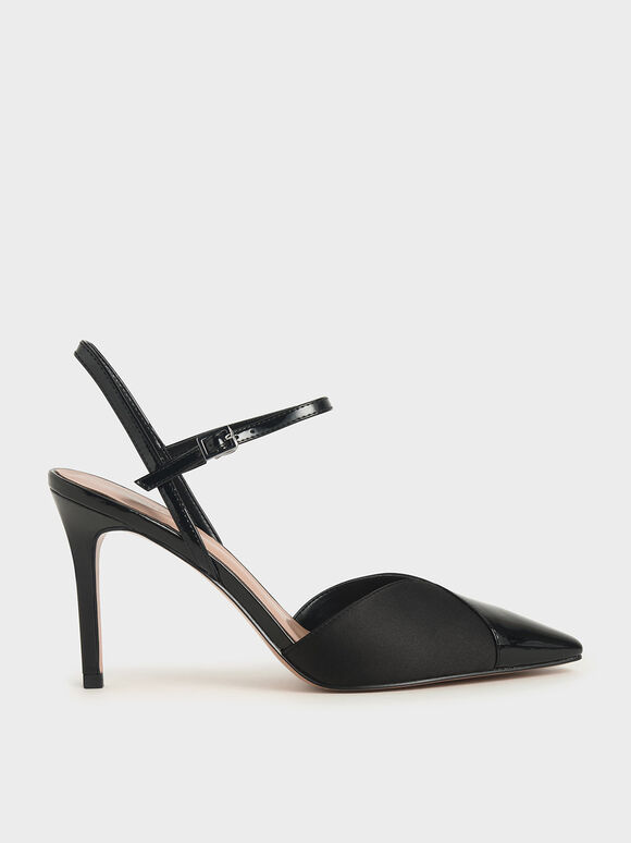 Patent & Satin Ankle Strap Pumps, Black, hi-res