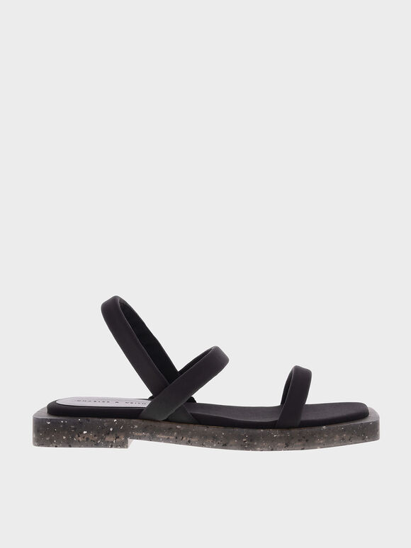 The Anniversary Series: Arabella Recycled Nylon Slingback Sandals, Black, hi-res