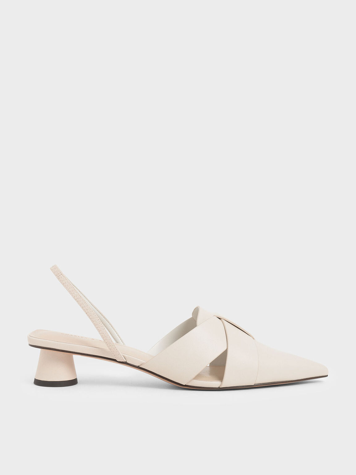 Cylindrical Heel Slingback Pumps, Chalk, hi-res