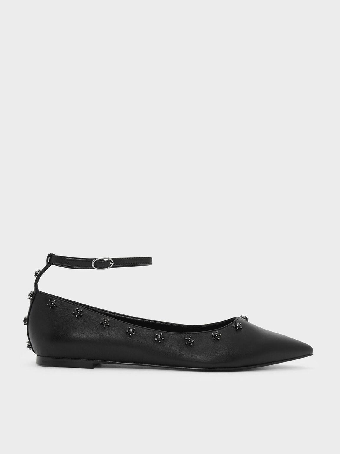 Ankle Strap Embellished Leather Flats, Black, hi-res