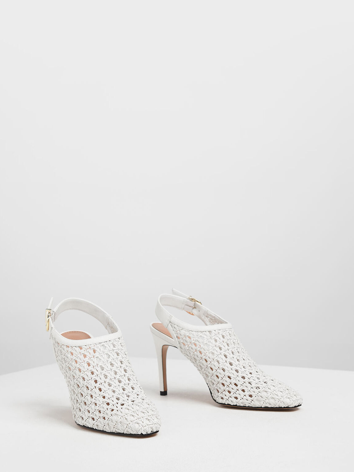 Woven Slingback Ankle Boots, White, hi-res