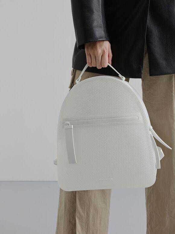 Front Zip Backpack, White, hi-res