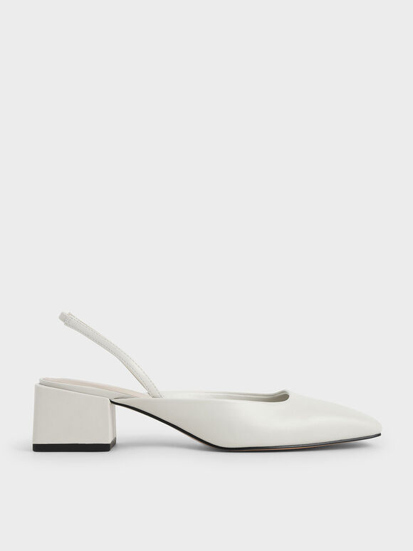Square Toe Slingback Pumps, White, hi-res