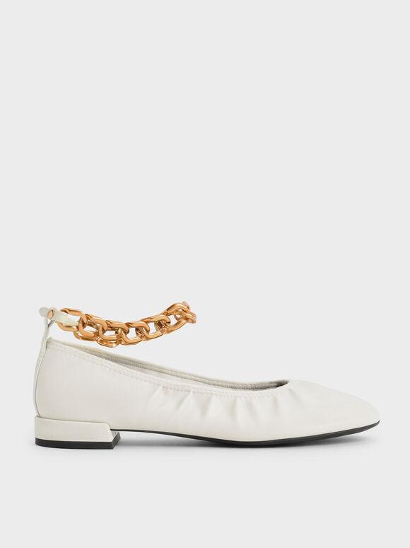 Chunky Chain Ankle Ballerina Flats, Chalk, hi-res