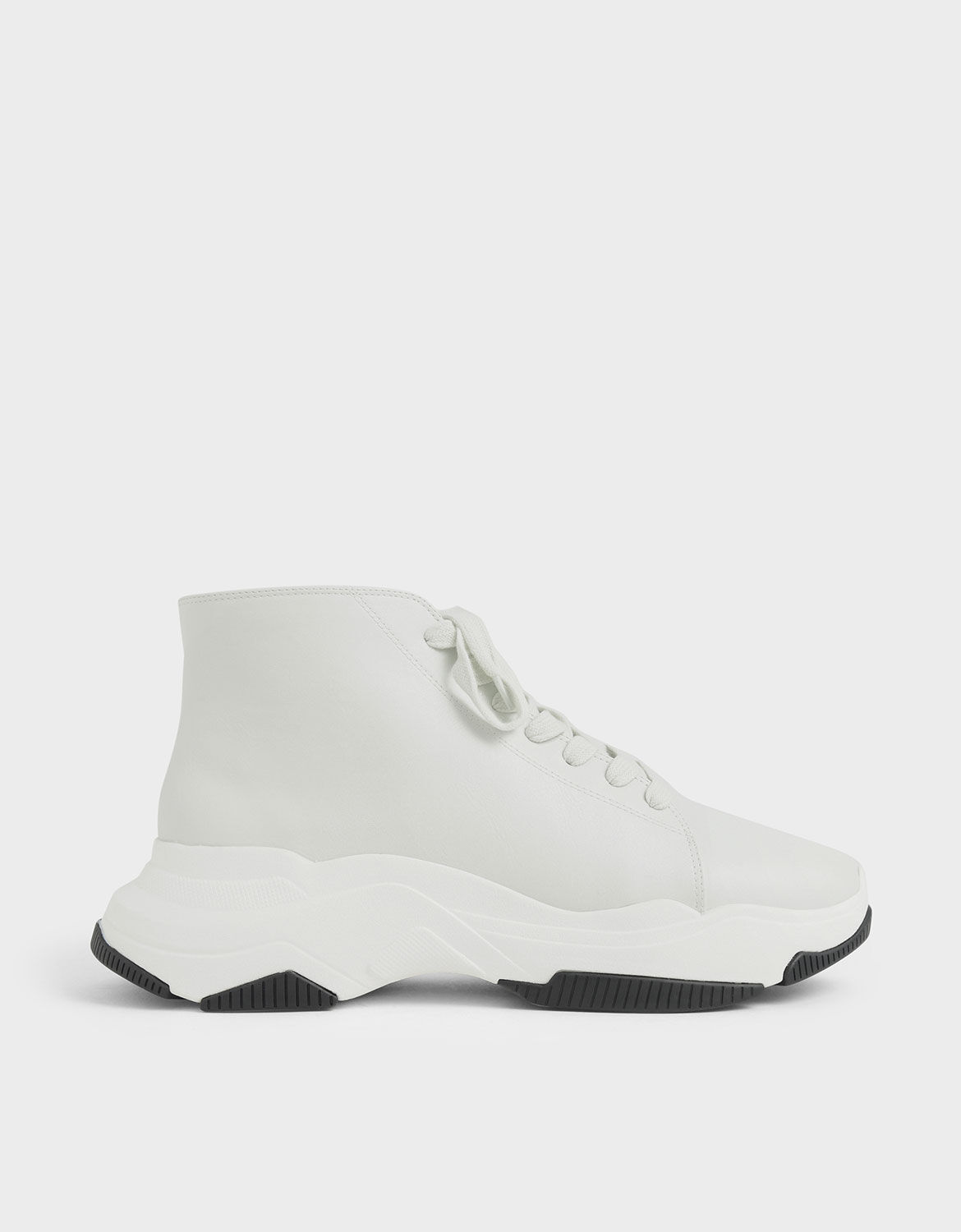White Lace-Up Chunky High Top Sneakers