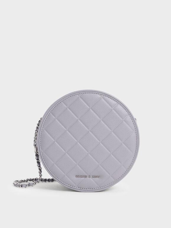 Quilted Circle Crossbody Bag, Purple, hi-res