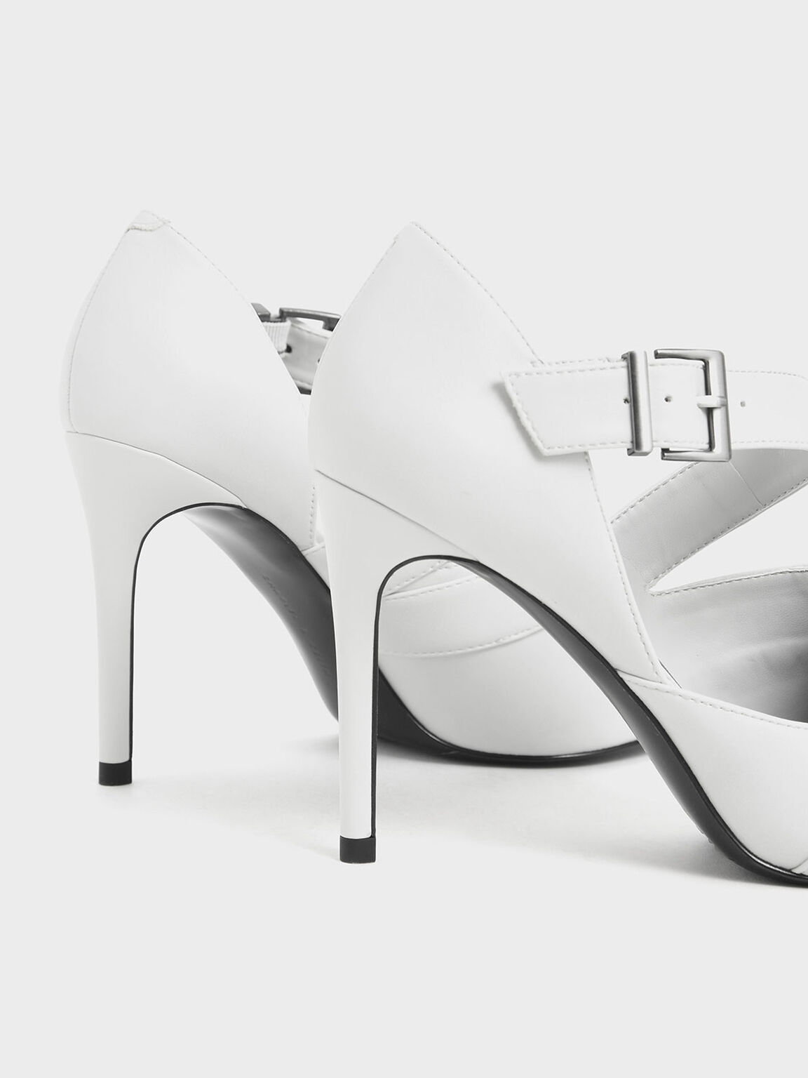 Strappy D'Orsay Stiletto Pumps, White, hi-res