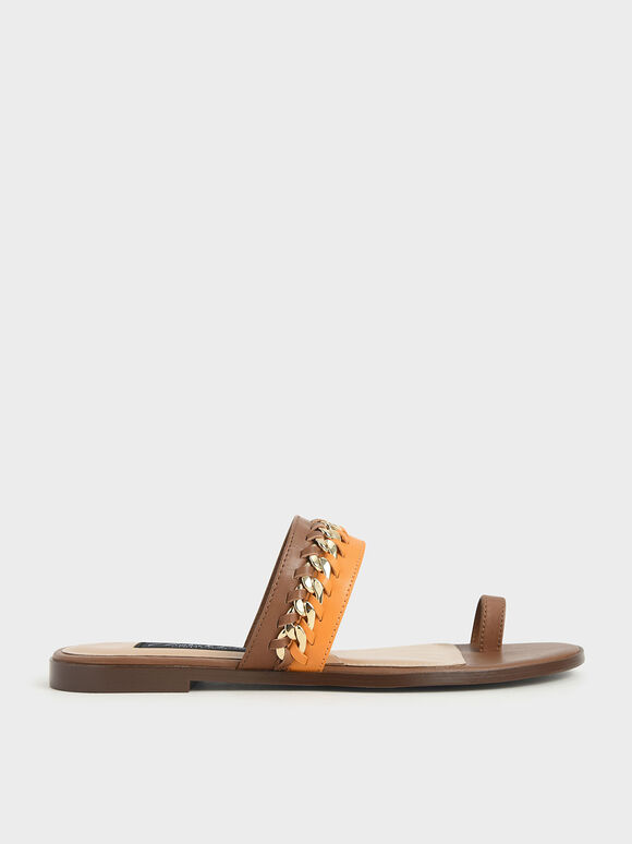 Leather Chain-Link Toe Loop Sandals, Multi, hi-res