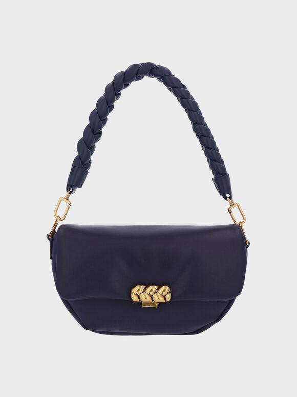 Braided Handle Metallic Accent Shoulder Bag, Navy, hi-res