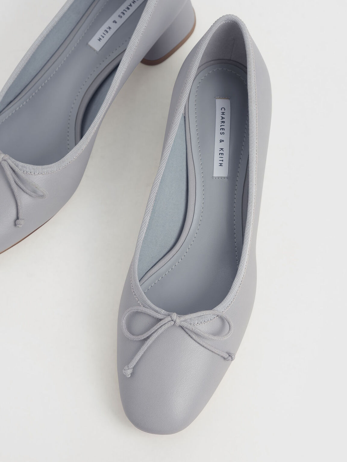 Bow Block Heel Pumps, Grey, hi-res