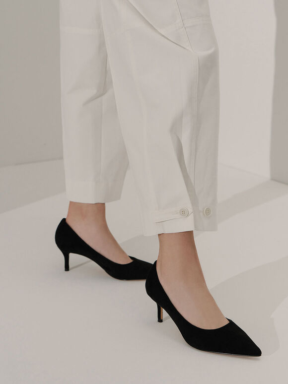 Textured Pointed Toe Court Shoes, Black Textured, hi-res