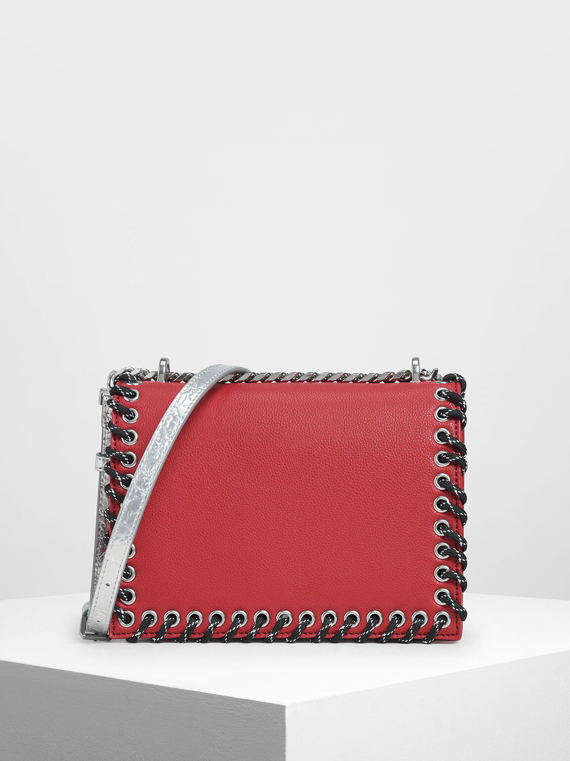 Grommet Accented Crossbody Bag, Red, hi-res