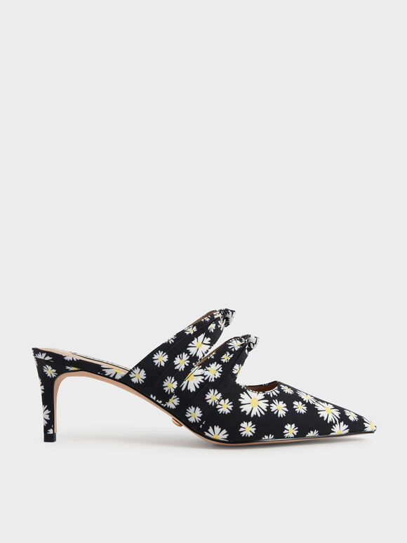 Knot Detail Daisy Print Heeled Mules, Black Textured, hi-res