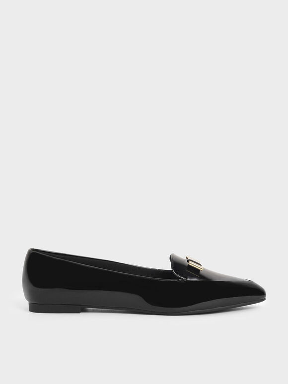 Metal Bow Patent Pointed Loafers, Black, hi-res