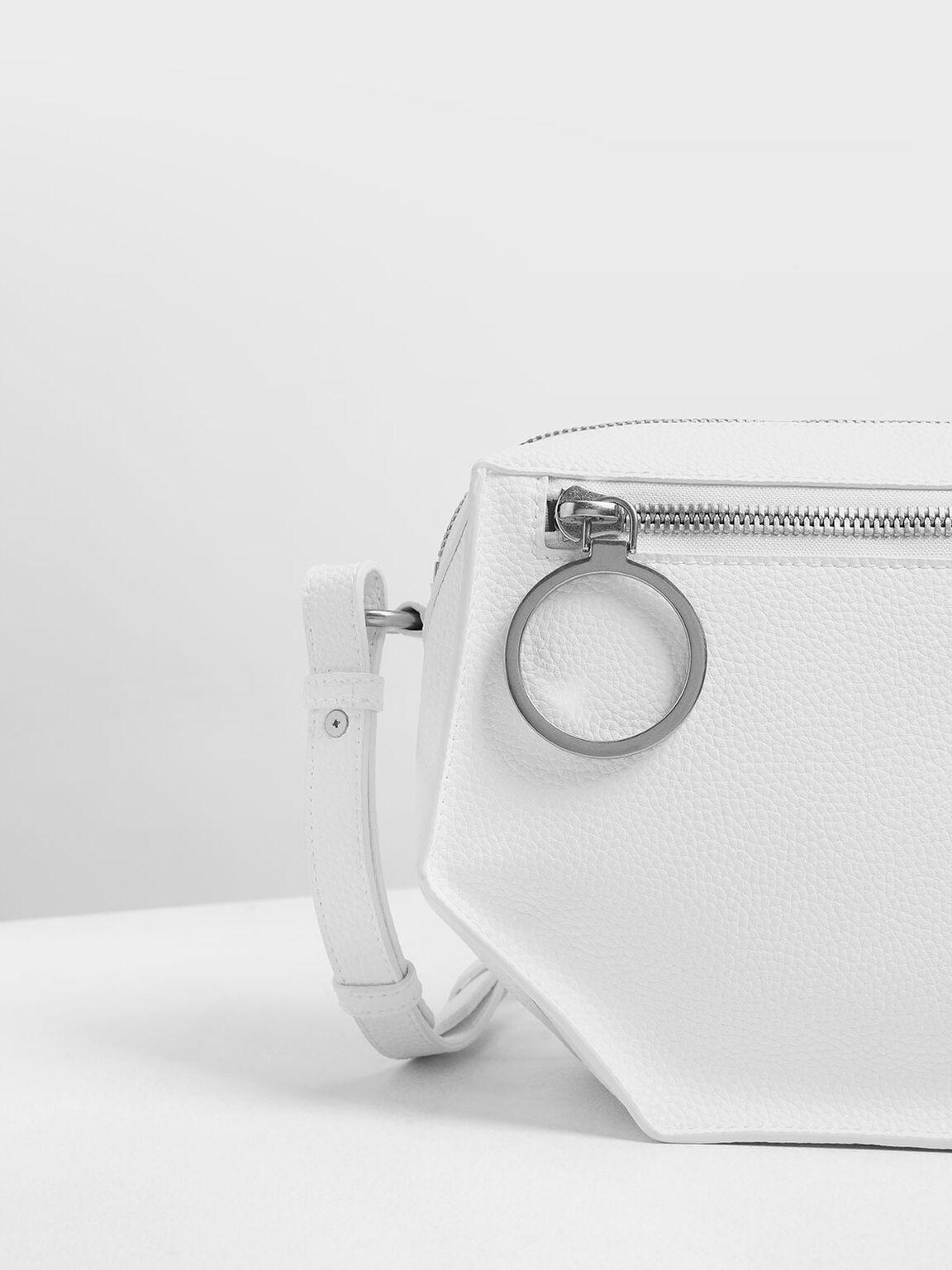Geometric Crossbody Bag, White, hi-res
