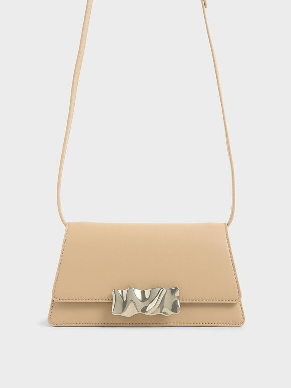 Metal Accent Shoulder Bag, Beige, hi-res