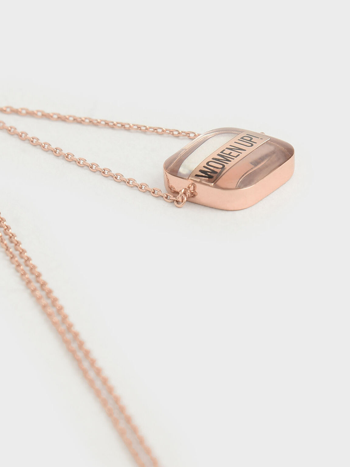 """WOMEN UP!"" Acrylic Necklace, Rose Gold, hi-res"