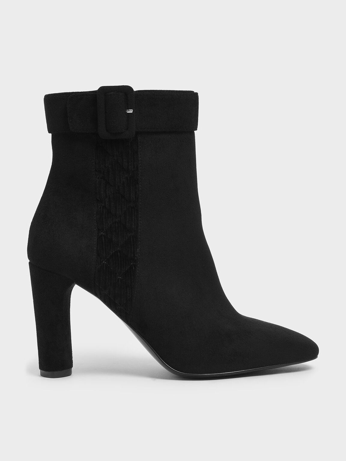 Buckle Strap Cylindrical Heel Corduroy Ankle Boots, Black Textured, hi-res