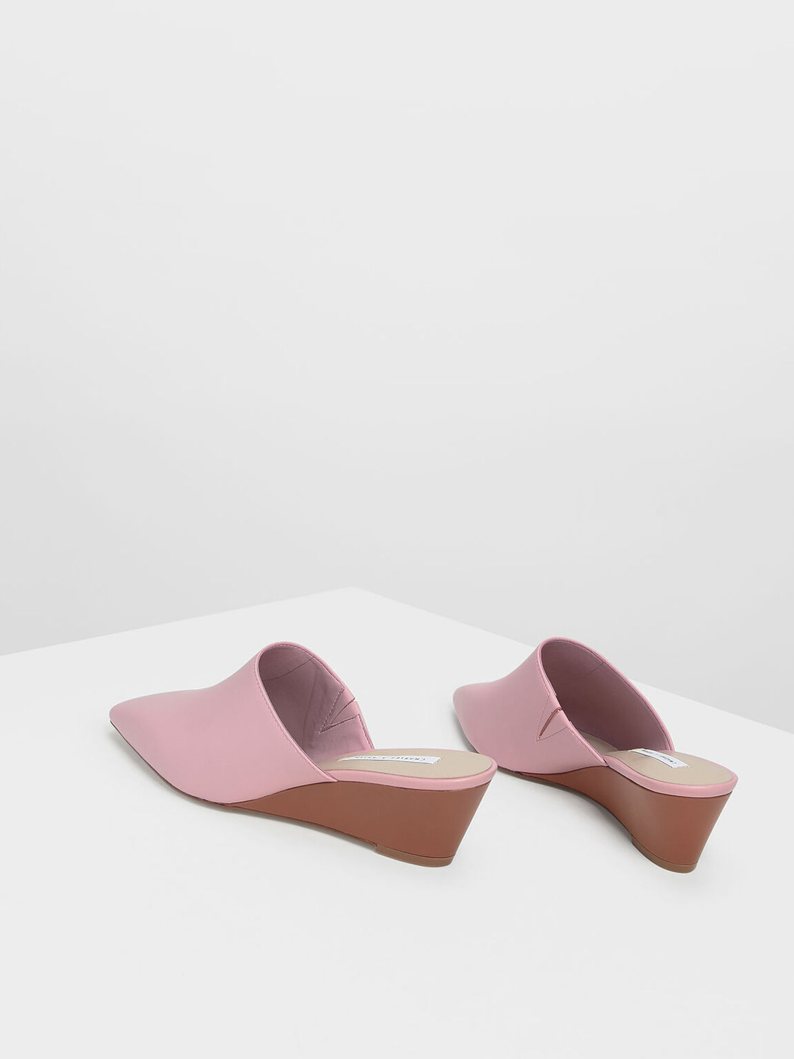 Closed Toe Low Wedge Mules, Pink, hi-res