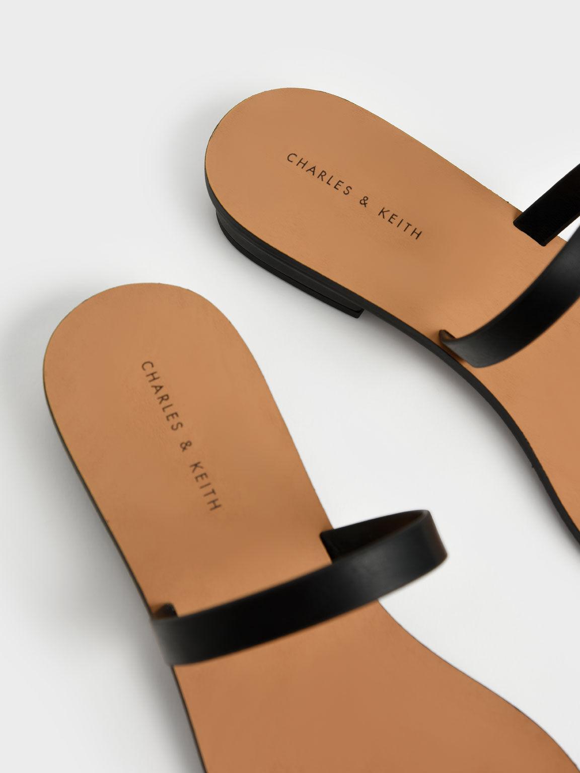 Toe Ring Flat Sandals, Black, hi-res