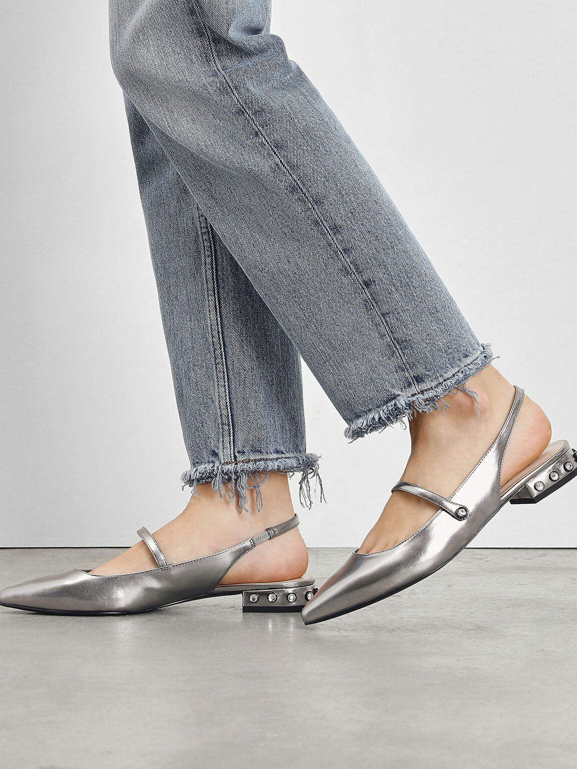Bejeweled Heel Slingback Flats, Silver, hi-res
