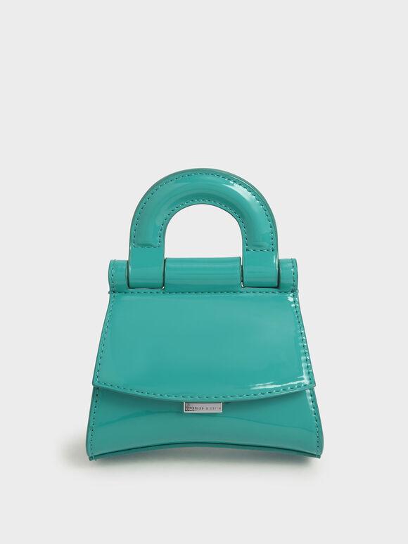 Mini Patent Top Handle Pouch Bag, Teal, hi-res