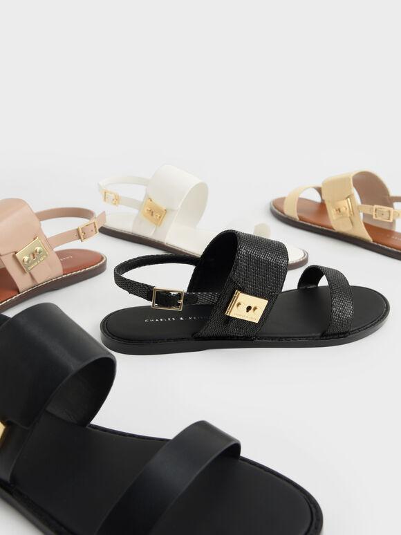 Raffia Metallic Buckle Sandals, Sand, hi-res
