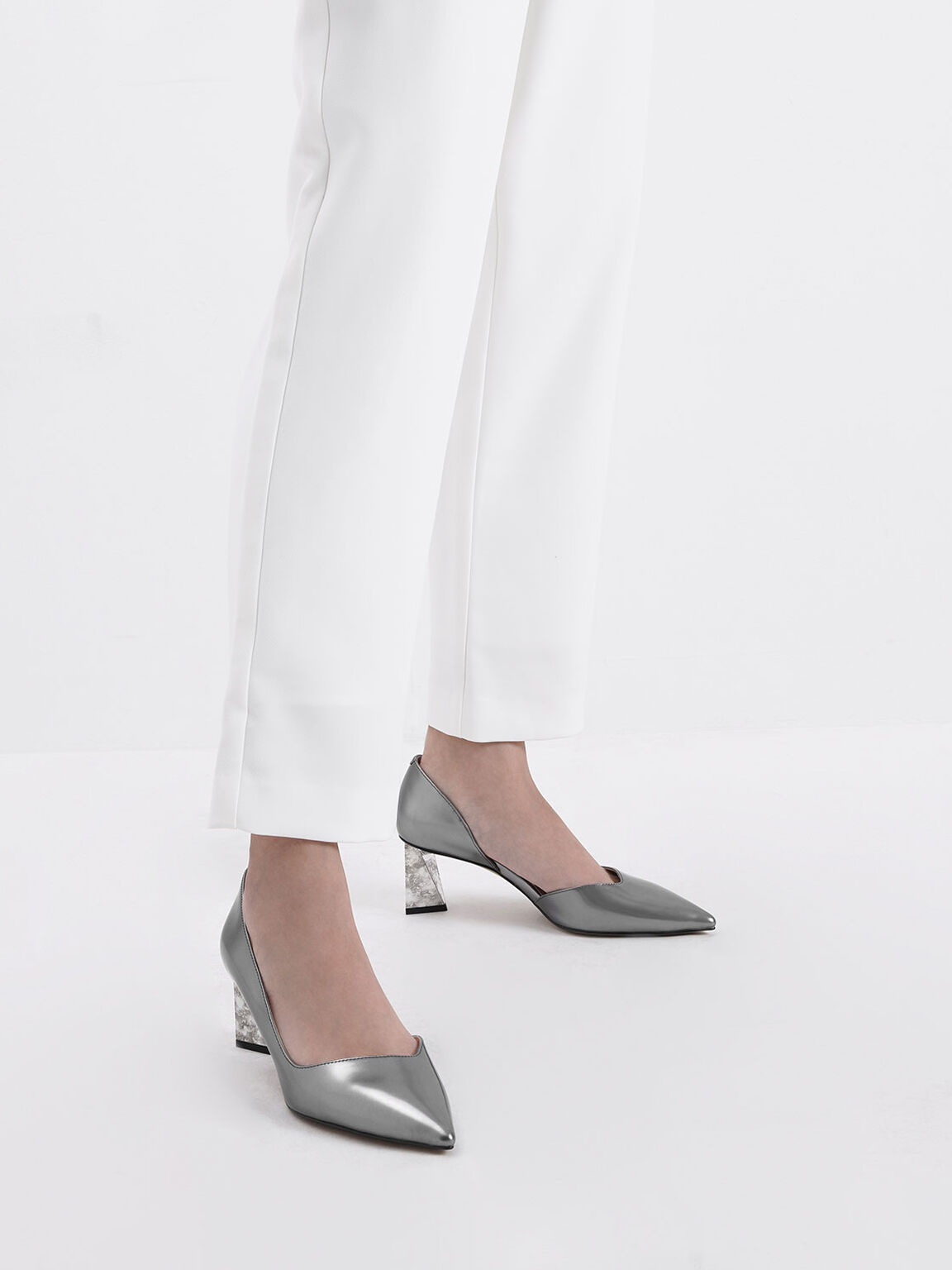 Metallic Leather Chrome Heel Pumps, Silver, hi-res