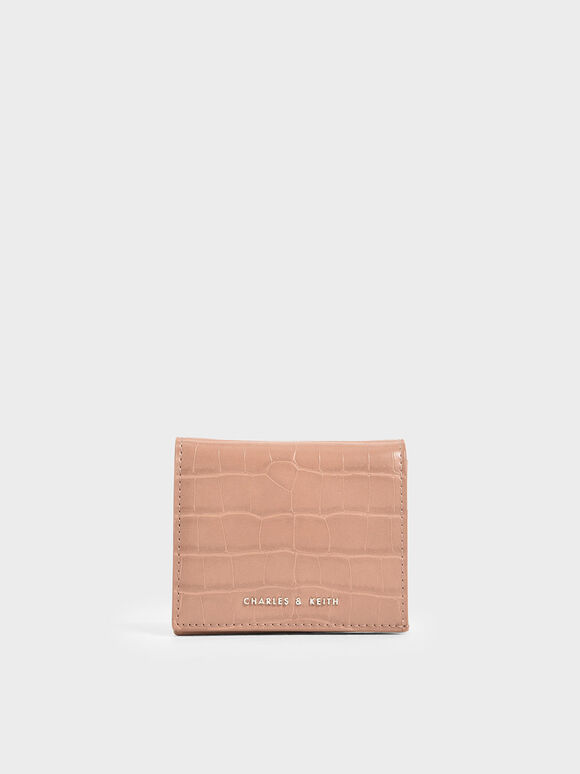 Croc-Effect Small Wallet, Blush, hi-res