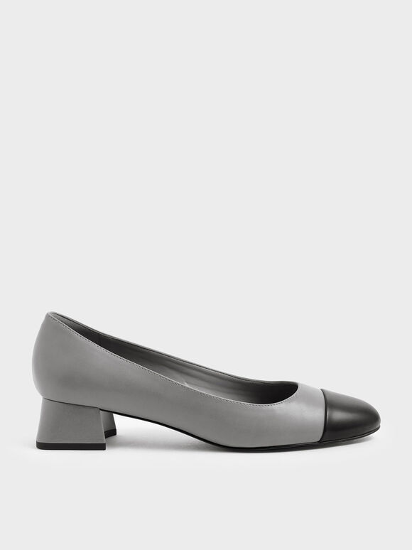 Two-Tone Round Toe Curved Block Heel Pumps, Grey, hi-res