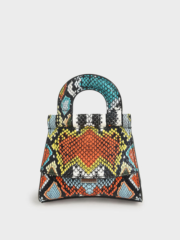 Mini Snake Print Top Handle Pouch Bag, Multi, hi-res